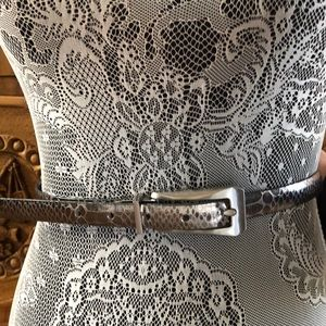 White House Black Market Silver croc reverse belt
